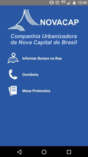 """Desenvolvido, em 2017, o aplicativo Novacap Tapa Buracos, que permite ao cidadão notificar a companhia sobre ocorrência de buracos em vias públicas, gerando um protocolo para acompanhamento da execução da solicitação.   <br> Baixe aqui Android: (<a href=""""https://play.google.com/store/apps/details?id=br.gov.df.novacap.mobile&hl=pt_BR"""">link aqui</a>) <br>"""