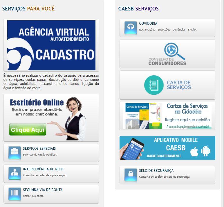 """Implantadas funcionalidades no sitio eletrônico da Caesb. As funcionalidades inseridas em outubro/2017, permitem que os serviços dos escritórios regionais sejam solicitados via internet, melhorando a qualidade do atendimento aos clientes.<br> Acesse: (<a href=""""https://www.caesb.df.gov.br/"""">link aqui</a>)"""