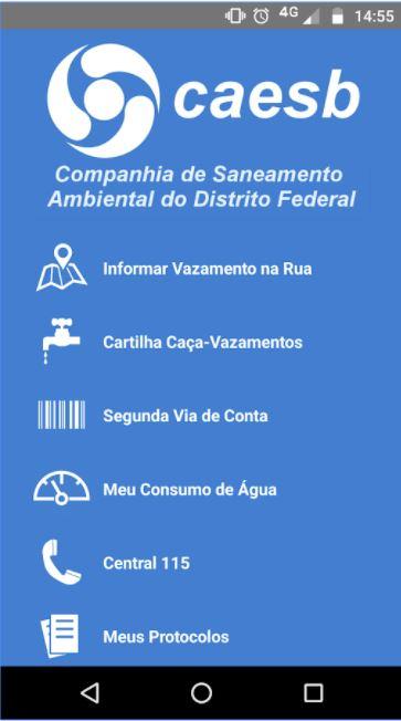 """Aprimorado o Aplicativo Caesb Autoatendimento para celulares. Com as atualizações de 2017, o aplicativo passou a contar com as opções de acompanhamento do plano de rodízio, monitoramento do consumo de água segundo os padrões da Organização Mundial da Saúde - OMS, além do acompanhamento dos protocolos de serviços solicitados junto à empresa. <br> Baixe aqui Android: (<a href=""""https://play.google.com/store/apps/details?id=br.gov.df.caesb.mobile&hl=pt"""">link aqui</a>) <br> Baixe aqui IOS: (<a href=""""https://itunes.apple.com/br/app/caesb-autoatendimento/id1003831993?mt=8"""">link aqui</a>)"""