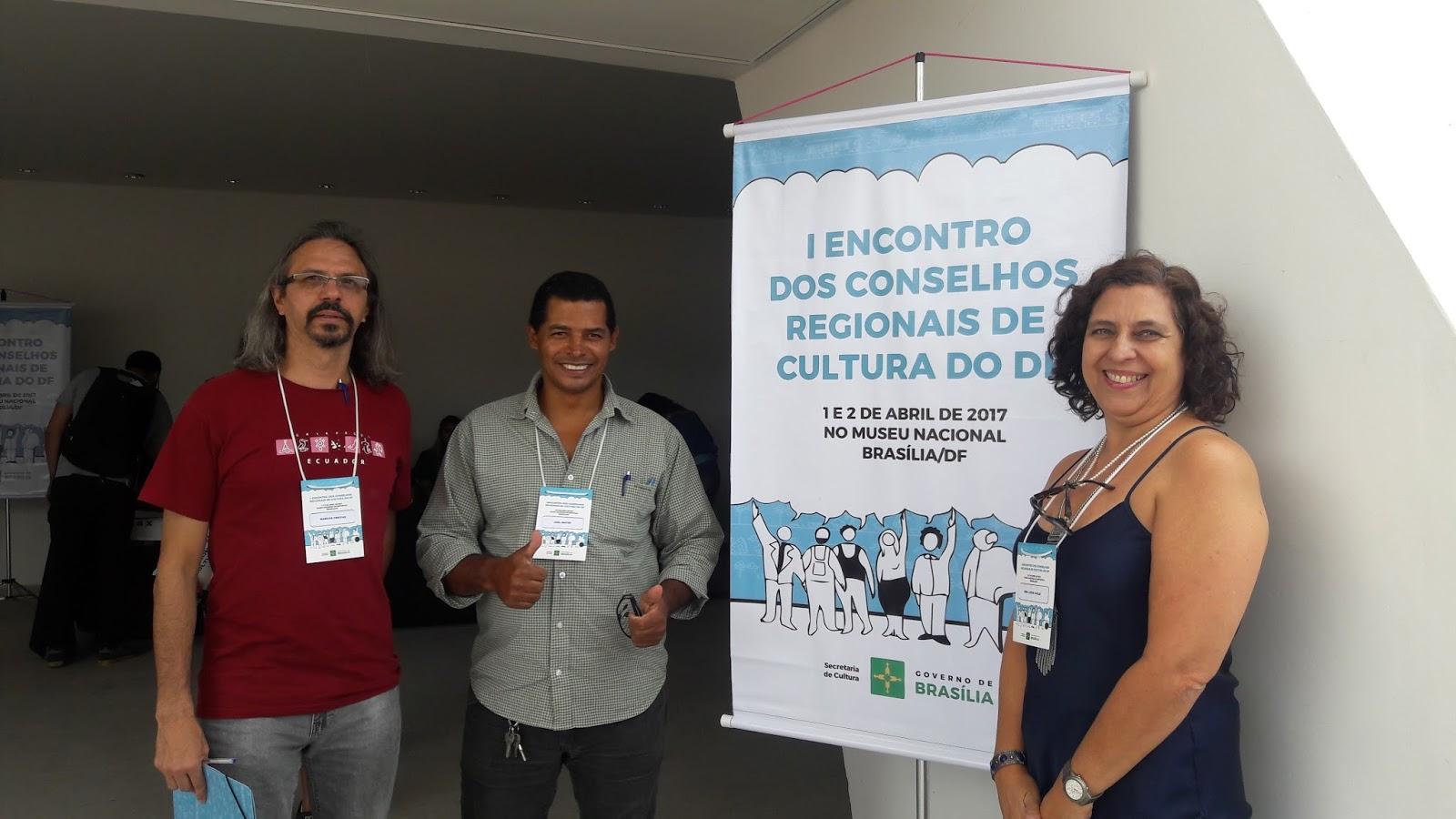 Realizados, desde 2017, três Encontros dos Conselhos Regionais de Cultura: <p><li> I Encontro dos Conselhos Regionais de Cultura (IECRC): ocorreu em abril/2017, com oficinas, palestras e grupos de trabalho sobre Lei Orgânica da Cultura (LOC), processos legais e formais, comunicação digital e uso da plataforma Mapa nas Nuvens.</li> <p><li> II Encontro dos Conselhos Regionais de Cultura (IIECRC): ocorreu em abril/2018, teve como pauta principal a proposição de metas para o Plano de Cultura do DF e na sua terceira edição.</li> <p> <li>III Encontro dos Conselhos Regionais de Cultura (IIIECRC): ocorreu 10 e 11 de novembro/2018 no Museu Nacional, escreveu um novo capítulo de sua história. Pela primeira vez, desde a criação do colegiado em 1989, o Conselho de Cultura do DF (CCDF) realizou um processo eleitoral para a escolha dos membros da sociedade civil para compor o Conselho de Cultura nos próximos três anos. A escolha foi feita pelos conselheiros regionais de cultura das regiões administrativas do DF, de acordo com Regimento Eleitoral - Resolução CCDF nº 02, de 02/10/2018.</li>