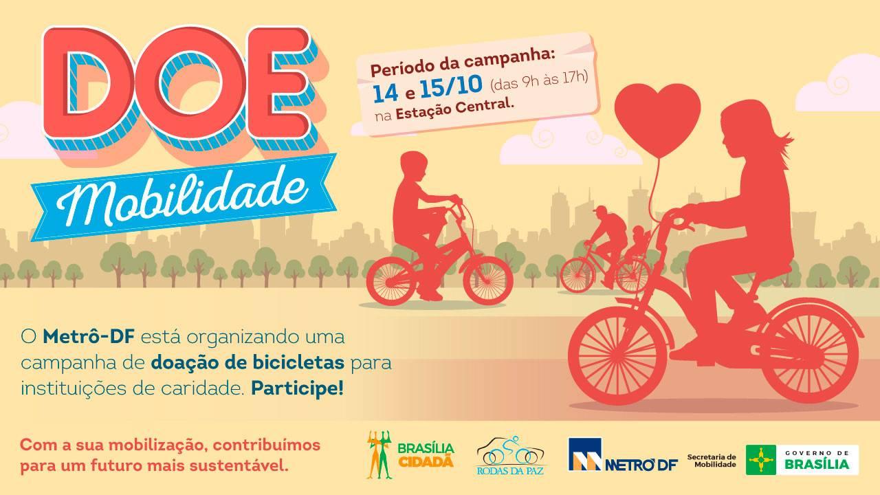 Promovida, em 2016, a campanha Doe Mobilidade, em parceria com a ONG Rodas da Paz, para arrecadar doações de bicicletas para projetos sociais, estimulando o seu uso no Dia Mundial sem Carro, no evento foram arrecadadas cinco bicicletas para doação. Além disso, o Metrô disponibiliza de segunda à sábado o espaço para o transporte de até 5 bicicletas no último vagão, que aos domingos é totalmente liberado para o transporte de bicicletas.