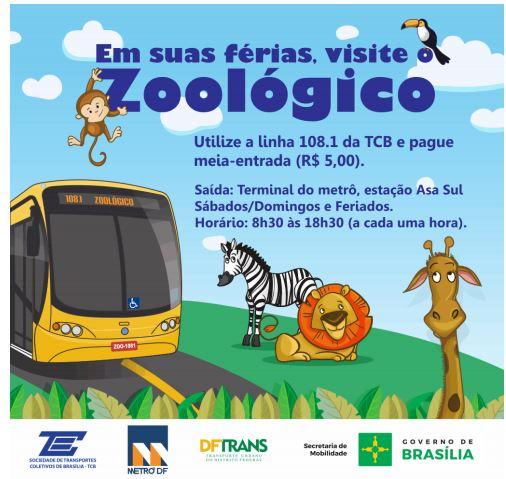 Implantada, em dezembro/2017, uma linha de ônibus ligando o metrô - Terminal Asa Sul ao Zoológico. A nova linha é objeto de parceria entre Metrô, Zoológico e TCB para o período das férias escolares (janeiro e fevereiro).
