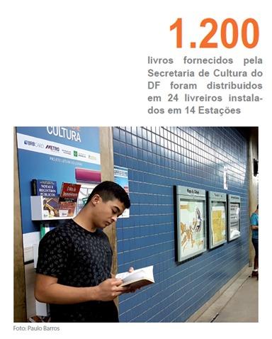 Implantado, em 2017, o projeto Leitura Solidária, em parceria com o BRB Card e a Secretaria de Cultura, com o objetivo de fomentar o hábito de leitura, como instrumento propulsor de transformação cultural e social por meio da mobilidade urbana sobre trilhos. Foram instalados 24 livreiros nas plataformas das seguintes estações: Central, Galeria, 112 Sul, Shopping, Guará, Arniqueiras, Águas Claras, Praça do Relógio, Centro Metropolitano, Ceilândia Sul, Guariroba, Ceilândia Centro, Terminal Ceilândia e Terminal Samambaia.